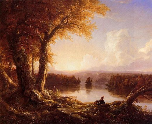thomas cole indian at sunset paintings