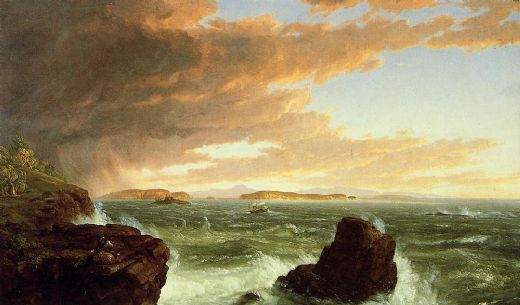 thomas cole view across frenchmans bay from mount desert island after a squall painting
