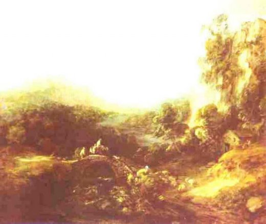 thomas gainsborough landscape with a bridge painting