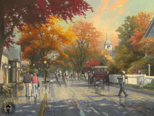 thomas kinkade autumn on mackinac island paintings