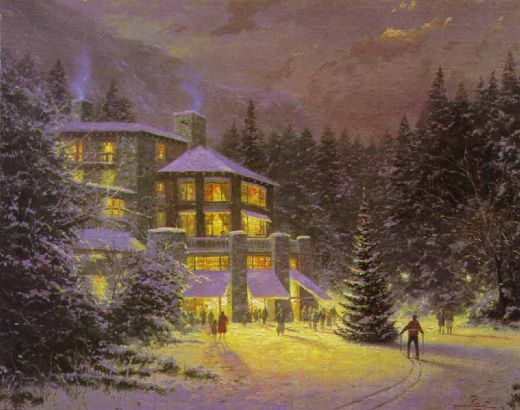 thomas kinkade christmas at the ahwahnee paintings