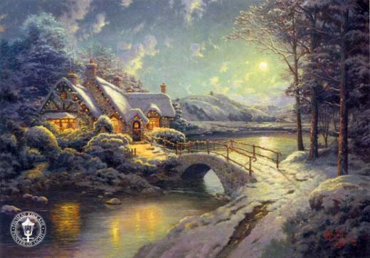 thomas kinkade christmas moonlight painting