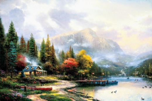 thomas kinkade end of a perfect day iii paintings