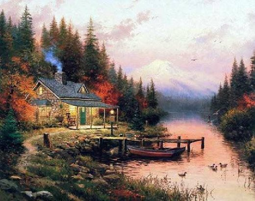 thomas kinkade end of a perfect day paintings