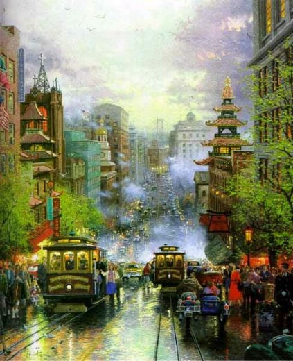 thomas kinkade san francisco a view down california street paintings