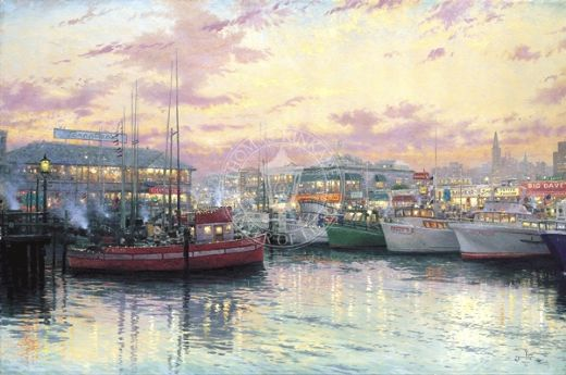 thomas kinkade san francisco fisherman s wharf oil