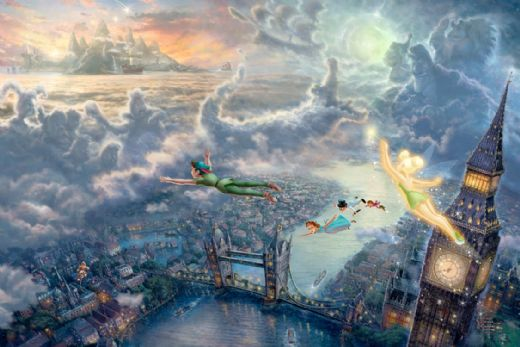 thomas kinkade tinker bell and peter pan fly to neverland paintings