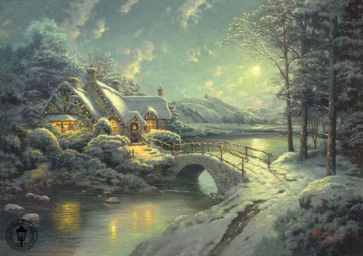 thomas kinkade xmas moonlight paintings