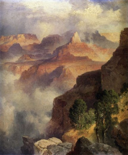 thomas moran a bit of the grand canyon painting