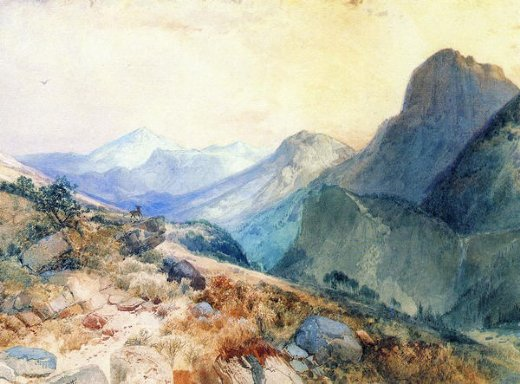 thomas moran a deer in a mountain landscape painting
