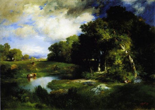thomas moran a pastoral landscape paintings