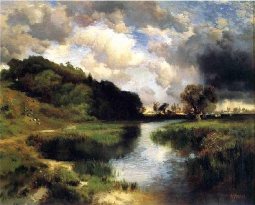 thomas moran cloudy day at amagansett paintings