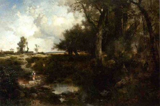 thomas moran crossing the brook near plainfield new jersey painting