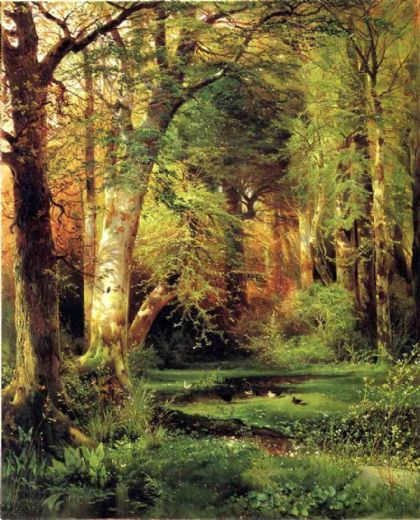 thomas moran forest scene paintings