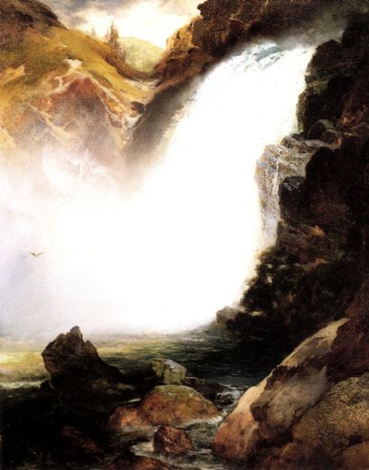 thomas moran landscape with waterfall paintings