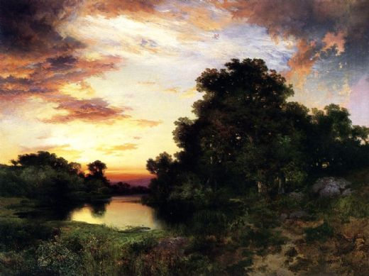 thomas moran sunset on long island paintings