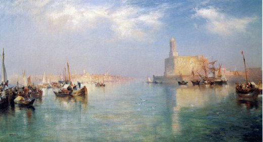thomas moran vera cruz harbor oil painting