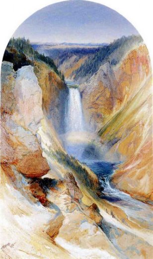 thomas moran wyoming fall yellowstone river painting