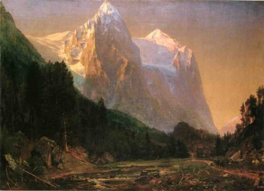 thomas worthington whittredge sunrise on the wetterhorn painting