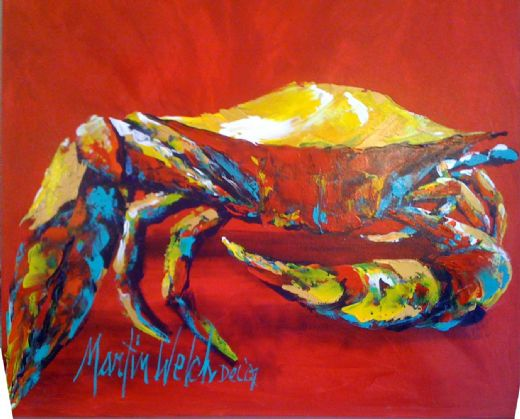 unknown artist crab 3 paintings