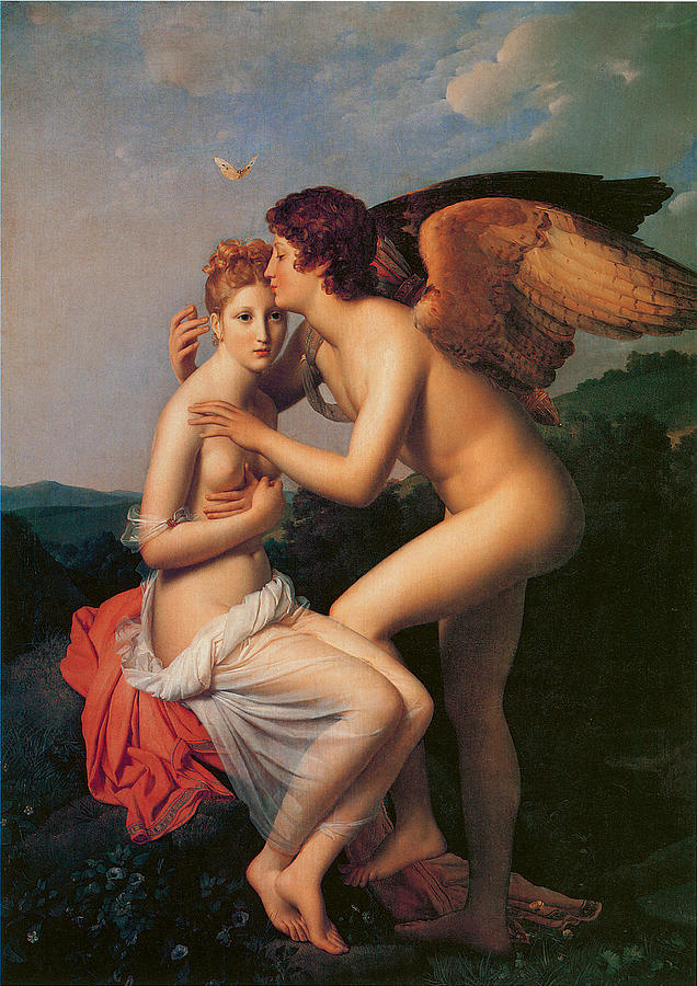 unknown artist francois gerard psyche receiving the first kiss of love painting