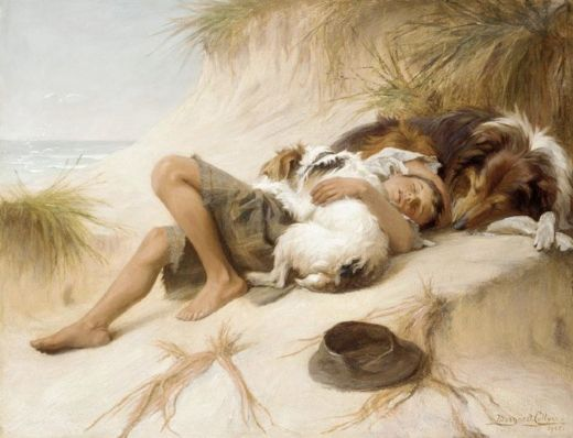 unknown artist margaret collyer young boy asleep with dogs paintings