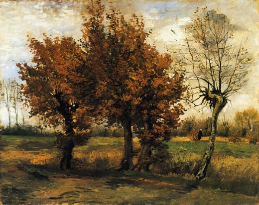 vincent van gogh autumn landscape with four trees painting