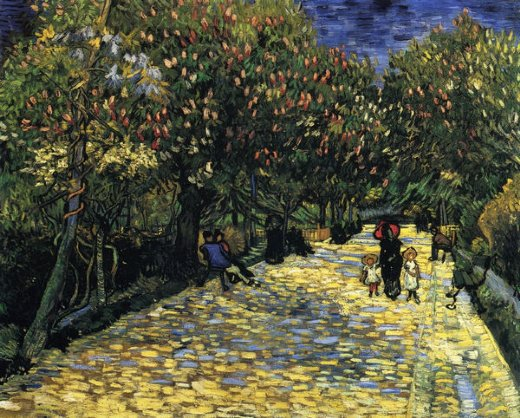 vincent van gogh avenue with flowering chestnut trees painting