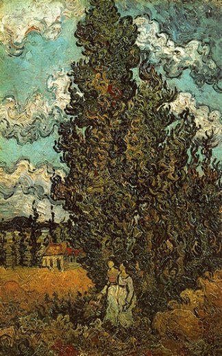 vincent van gogh cypresses and two women painting