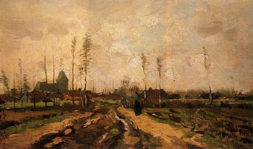 vincent van gogh landscape with church and farms paintings