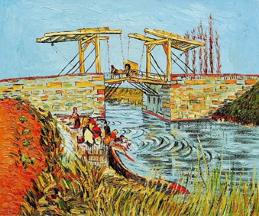 vincent van gogh langlois bridge at arles with women washing painting