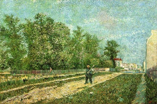 vincent van gogh man with spade in a suburb of paris painting