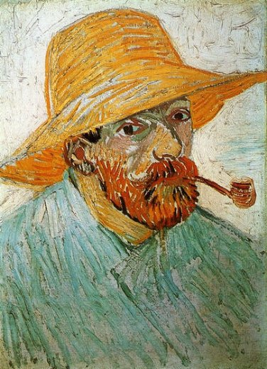 vincent van goghself portrait with pipe and straw hat ii Painting-23699