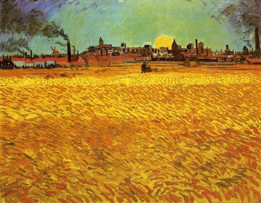 vincent van gogh sunset wheat fields near arles paintings