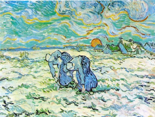 vincent van gogh two peasant women digging in field with snow painting