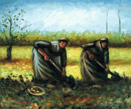 vincent van gogh two peasant women digging potatoes paintings