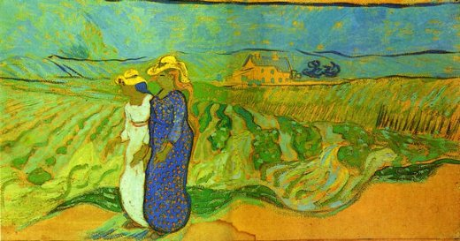 vincent van gogh two women crossing the fields painting