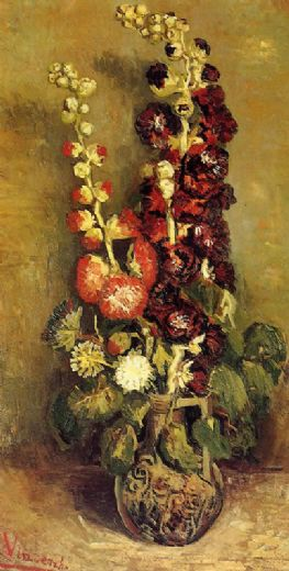 vincent van gogh vase with hollyhocks painting