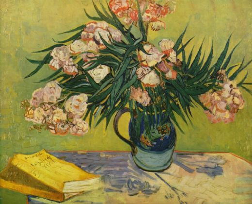 vincent van gogh vase with oleanders and books paintngs