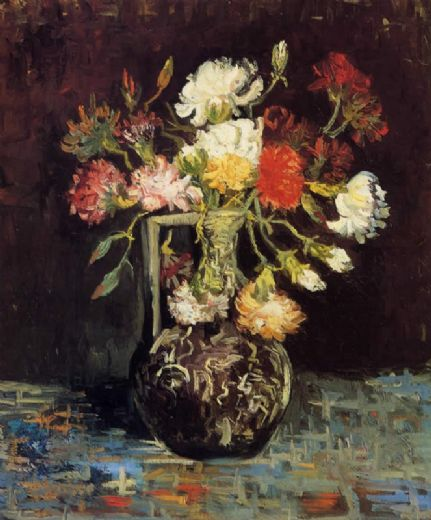 vincent van gogh vase with white and red carnations paintings
