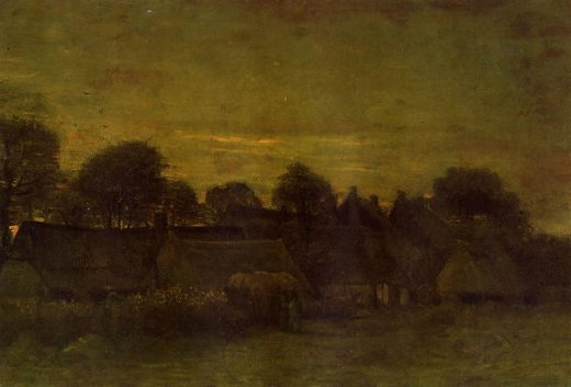vincent van gogh village at sunset painting