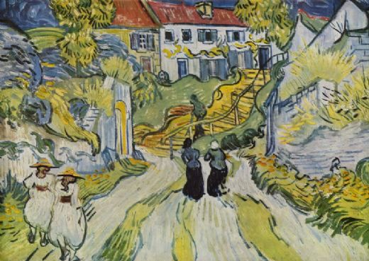 vincent van gogh village street and stairs with figures painting