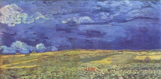 vincent van gogh wheat field under clouded sky paintings
