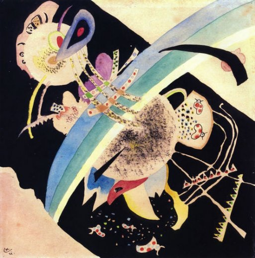 wassily kandinsky study for circles on black oil painting