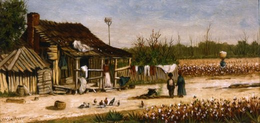 william aiken walker cabin scene with birdhouse chickens and cotton picker carrying basket of cotton paintings
