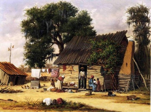 william aiken walker family gathered by a cabin painting
