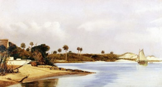 william aiken walker florida beach scene with beached boat and sailboat in water painting