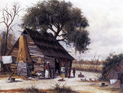 william aiken walker louisiana cabin scene with stretched