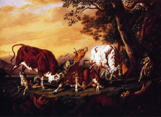 william aiken walker wolves attacking cattle painting