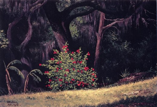 william aiken walker woodland scene with red posters